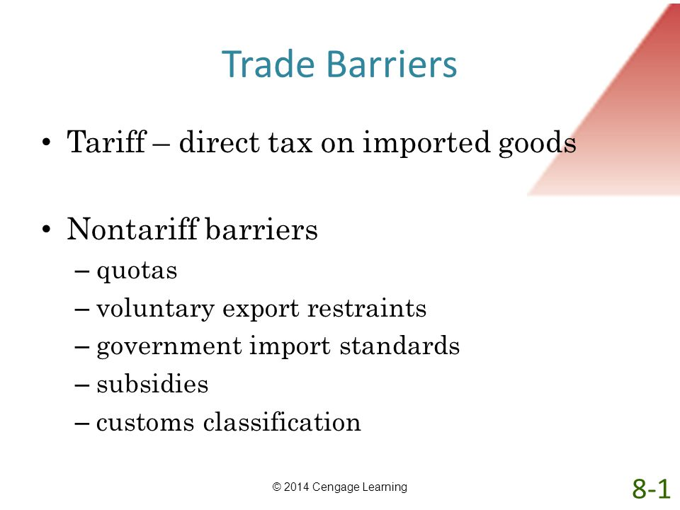 Trade Barriers Tariff – direct tax on imported goods Nontariff barriers – quotas – voluntary export restraints – government import standards – subsidi