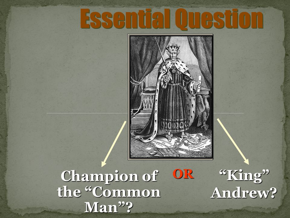 Essential Question Champion of the Common Man? King Andrew? OR