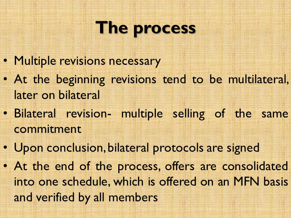 The process Multiple revisions necessary At the beginning revisions tend to be multilateral, later on bilateral Bilateral revision- multiple selling o