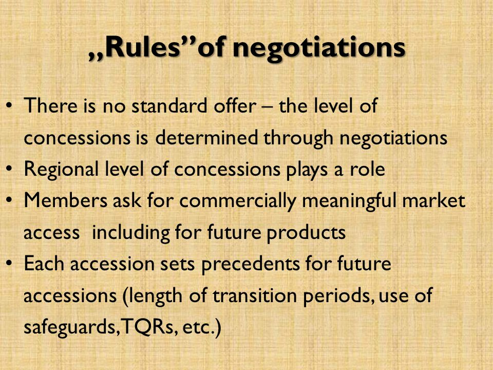 Rulesof negotiations There is no standard offer – the level of concessions is determined through negotiations Regional level of concessions plays a ro