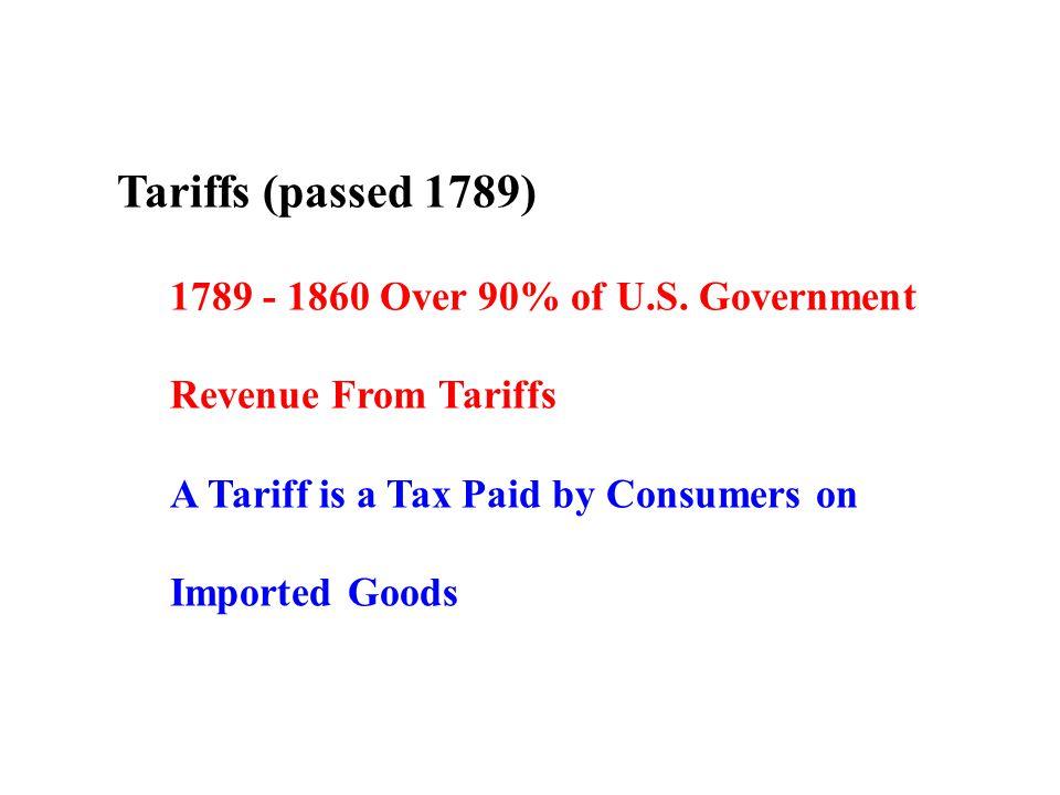 Tariffs (passed 1789) 1789 - 1860 Over 90% of U.S.