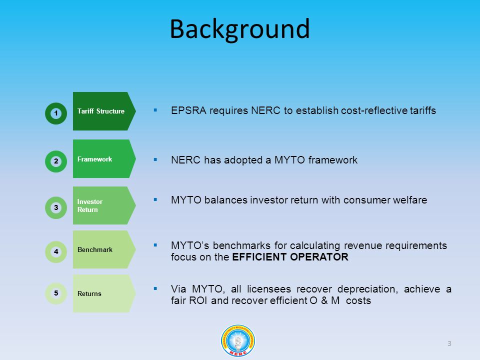 Background 3 Tariff Structure Framework Investor Return Benchmark Returns EPSRA requires NERC to establish cost-reflective tariffs NERC has adopted a MYTO framework MYTO balances investor return with consumer welfare MYTOs benchmarks for calculating revenue requirements focus on the EFFICIENT OPERATOR Via MYTO, all licensees recover depreciation, achieve a fair ROI and recover efficient O & M costs