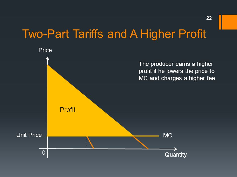 Two-Part Tariffs and A Higher Profit 22 Quantity 0 Price MR e MC Unit Price The producer earns a higher profit if he lowers the price to MC and charge