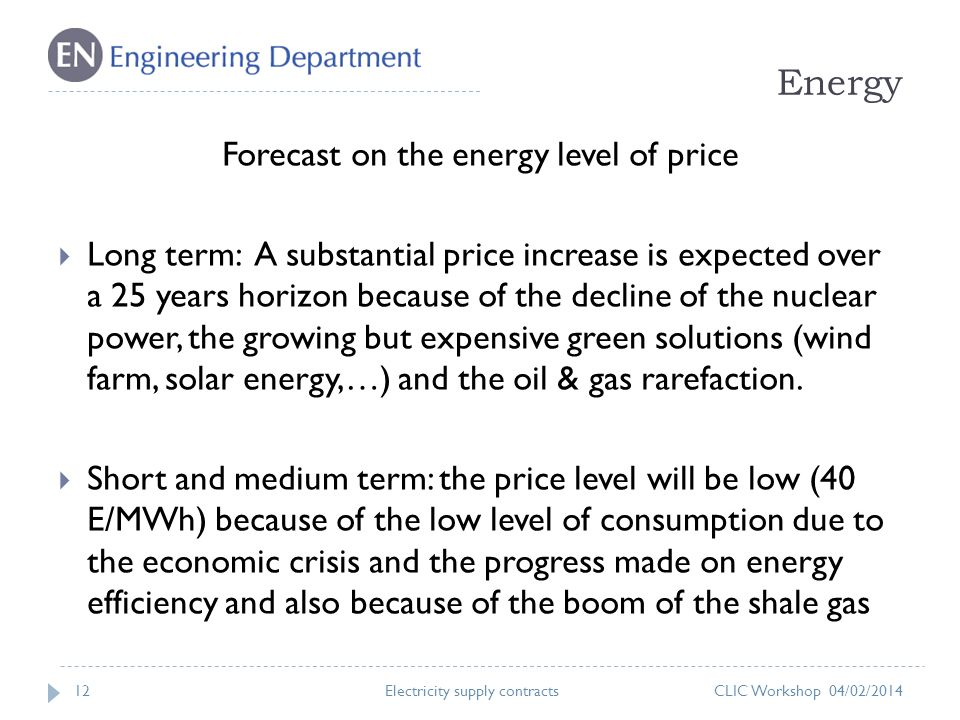 Energy 12 Forecast on the energy level of price Long term: A substantial price increase is expected over a 25 years horizon because of the decline of the nuclear power, the growing but expensive green solutions (wind farm, solar energy,…) and the oil & gas rarefaction.