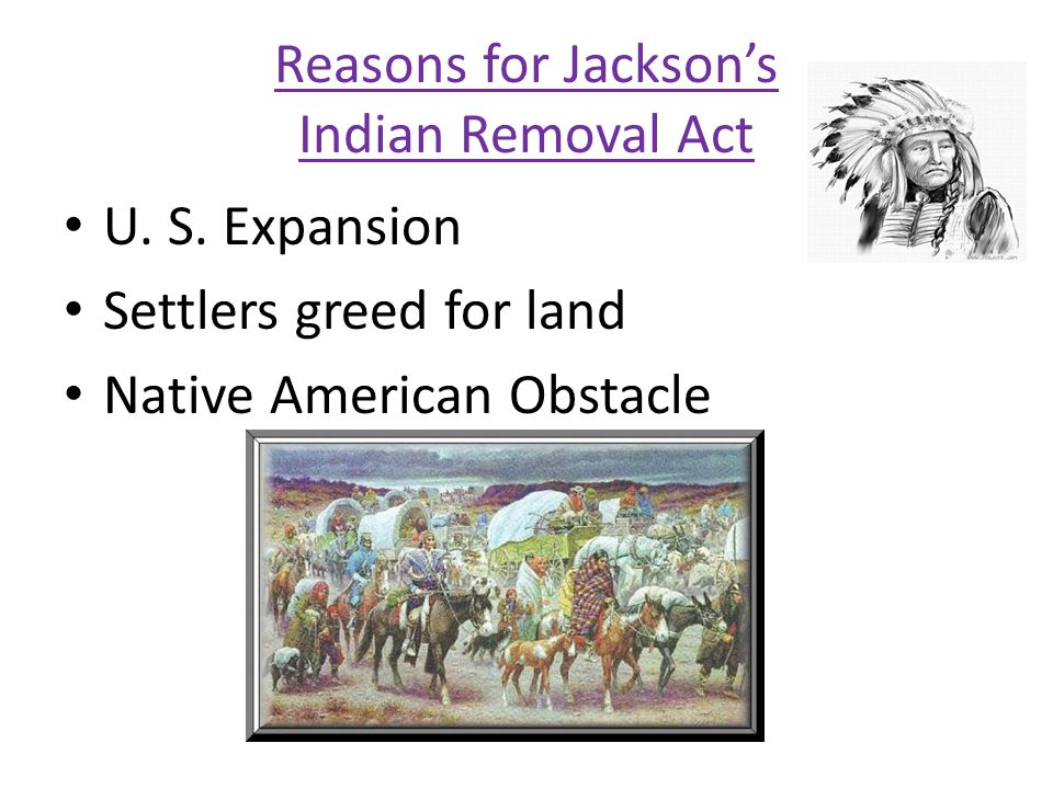 Reasons for Jacksons Indian Removal Act U. S. Expansion Settlers greed for land Native American Obstacle