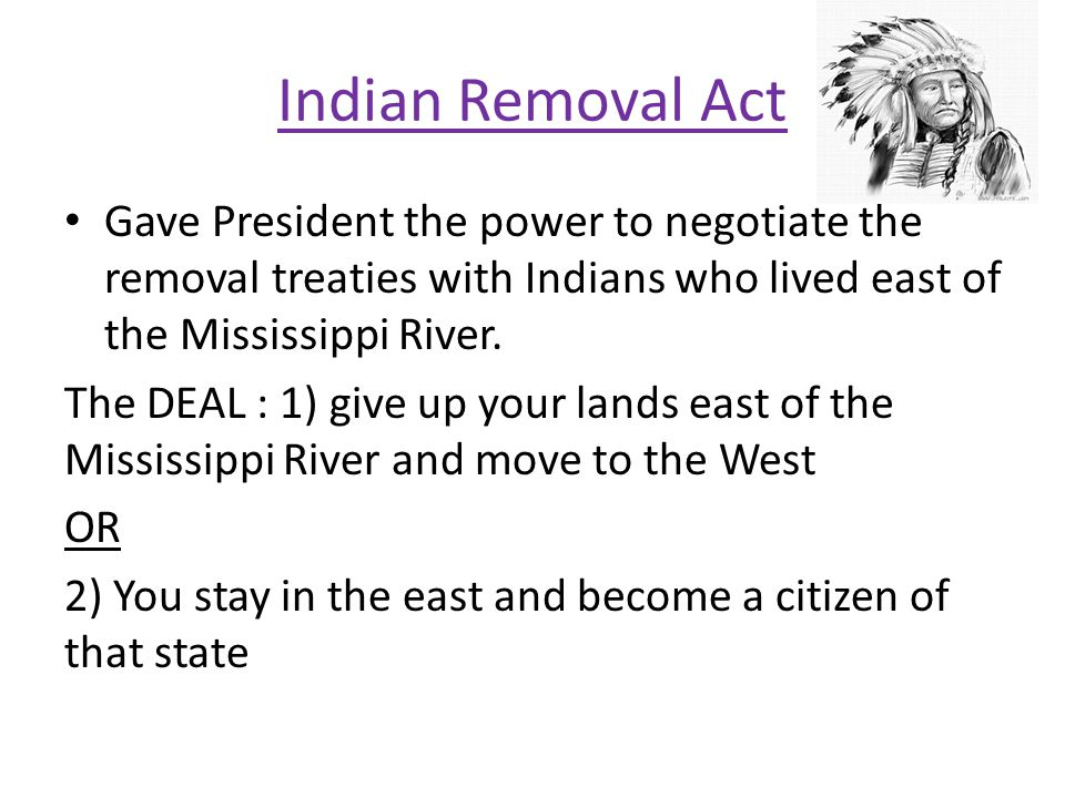 Gave President the power to negotiate the removal treaties with Indians who lived east of the Mississippi River. The DEAL : 1) give up your lands east