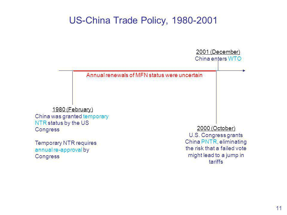 US-China Trade Policy, 1980-2001 11 1980 (February) China was granted temporary NTR status by the US Congress Temporary NTR requires annual re-approval by Congress 2000 (October) U.S.