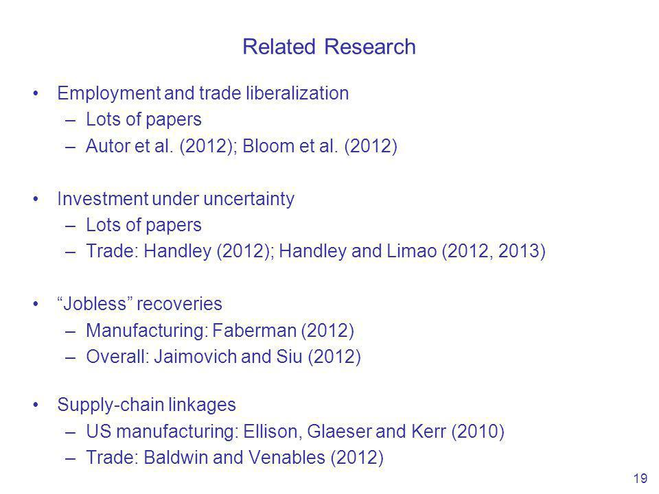 Related Research Employment and trade liberalization –Lots of papers –Autor et al.