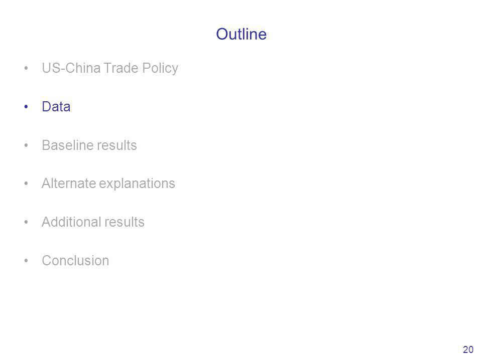 Outline US-China Trade Policy Data Baseline results Alternate explanations Additional results Conclusion 20