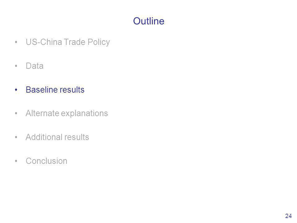 Outline US-China Trade Policy Data Baseline results Alternate explanations Additional results Conclusion 24