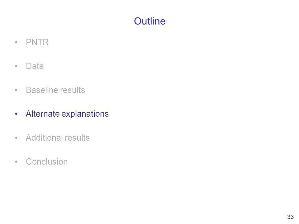 Outline PNTR Data Baseline results Alternate explanations Additional results Conclusion 33