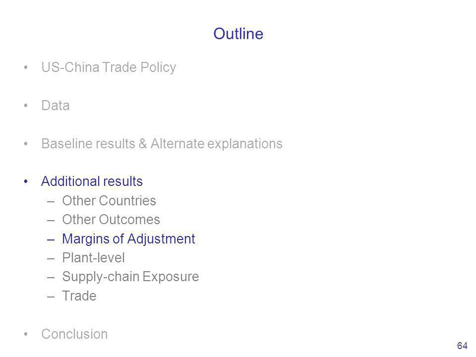 Outline US-China Trade Policy Data Baseline results & Alternate explanations Additional results –Other Countries –Other Outcomes –Margins of Adjustment –Plant-level –Supply-chain Exposure –Trade Conclusion 64
