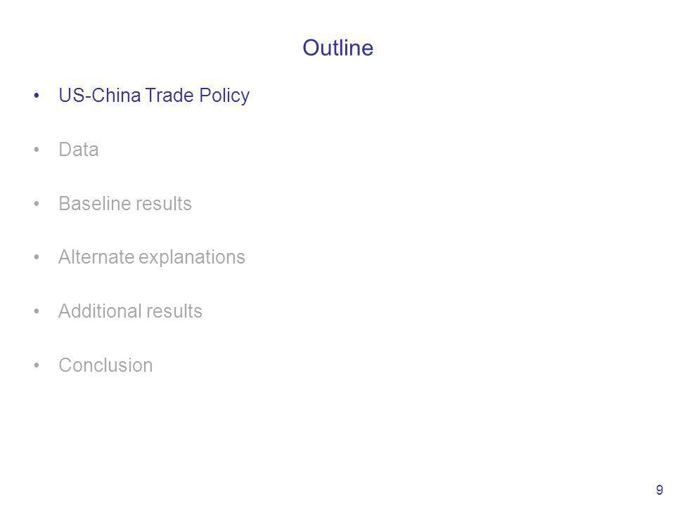 Outline US-China Trade Policy Data Baseline results Alternate explanations Additional results Conclusion 9