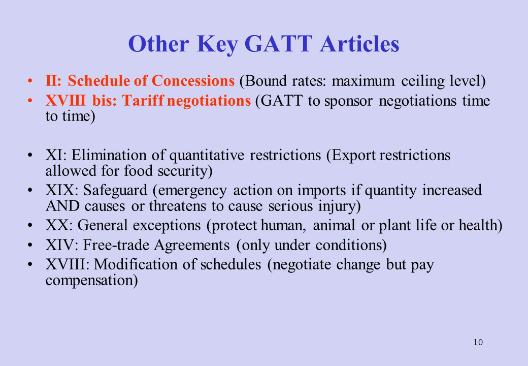 GATT Basic Principles: Trade without Discrimination MFN-clause (Most-Favoured-Nation): Art. I Countries cannot (normally) discriminate between their t