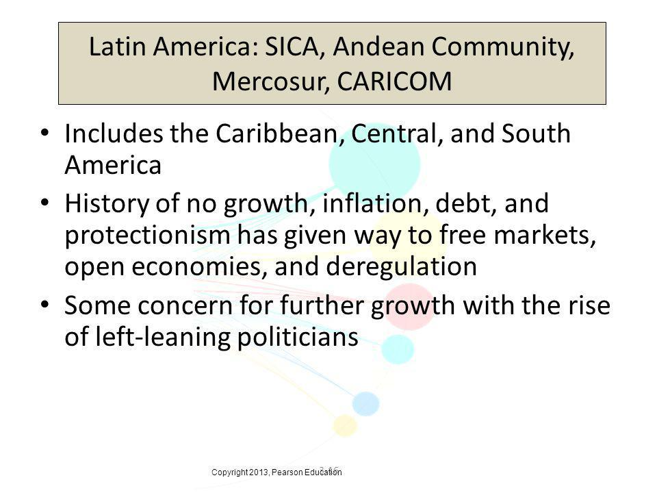Copyright 2013, Pearson Education 3-16 Latin America: SICA, Andean Community, Mercosur, CARICOM Includes the Caribbean, Central, and South America His