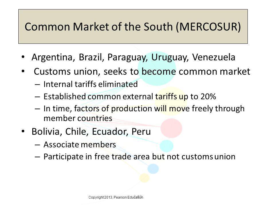 Copyright 2013, Pearson Education 3-19 Common Market of the South (MERCOSUR) Argentina, Brazil, Paraguay, Uruguay, Venezuela Customs union, seeks to b