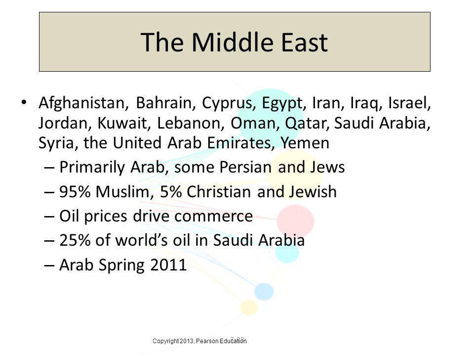 Copyright 2013, Pearson Education 3-28 The Middle East Afghanistan, Bahrain, Cyprus, Egypt, Iran, Iraq, Israel, Jordan, Kuwait, Lebanon, Oman, Qatar,