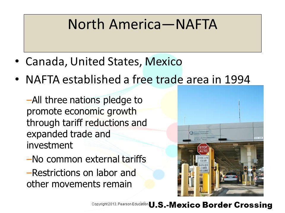Copyright 2013, Pearson Education 3-8 North AmericaNAFTA Canada, United States, Mexico NAFTA established a free trade area in 1994 –All three nations