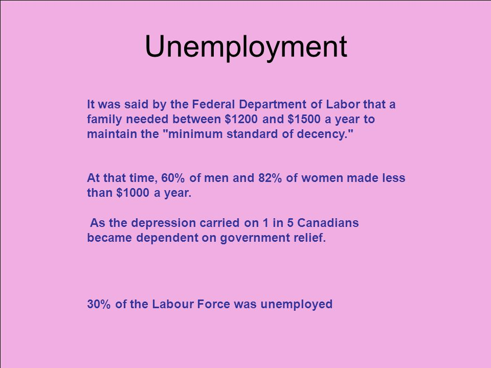 Unemployment It was said by the Federal Department of Labor that a family needed between $1200 and $1500 a year to maintain the