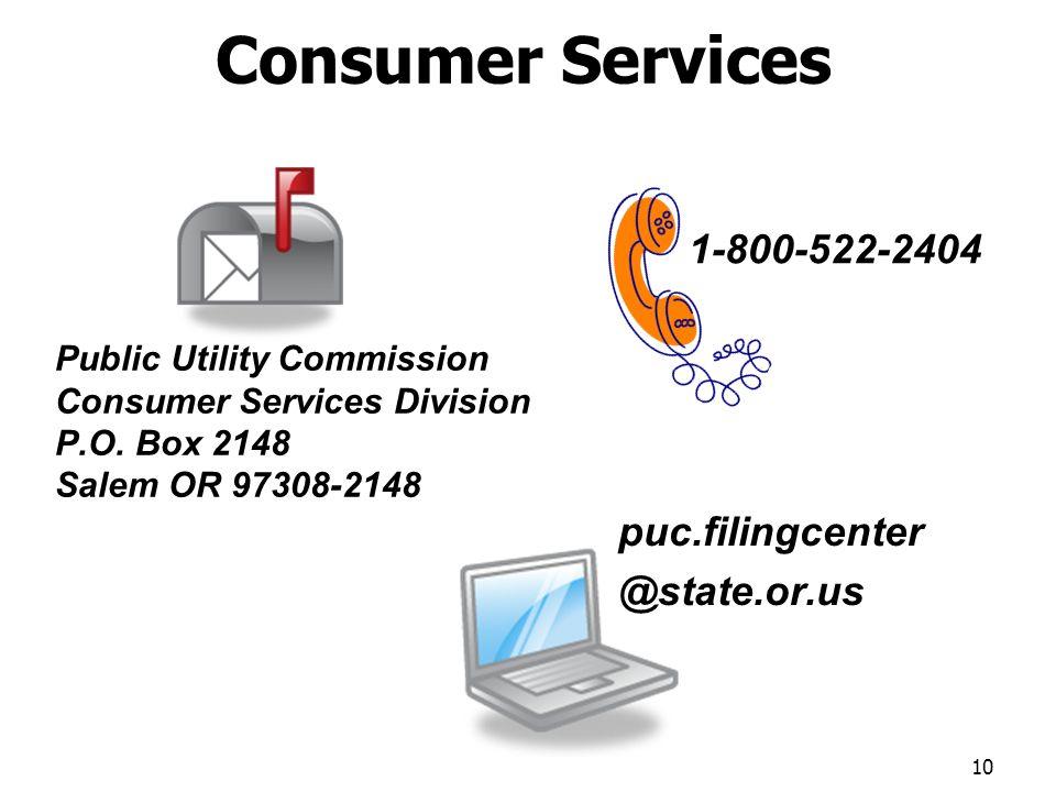 Consumer Services Public Utility Commission Consumer Services Division P.O.