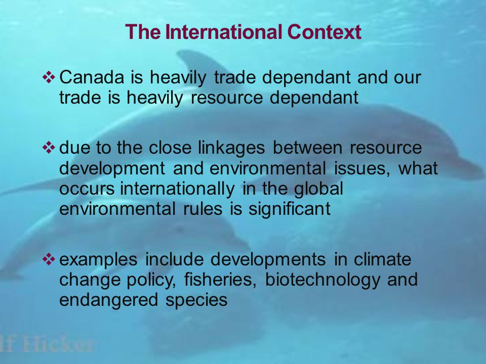 The International Context Canada is heavily trade dependant and our trade is heavily resource dependant due to the close linkages between resource development and environmental issues, what occurs internationally in the global environmental rules is significant examples include developments in climate change policy, fisheries, biotechnology and endangered species