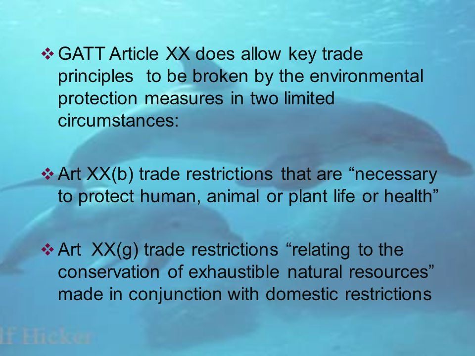 GATT Article XX does allow key trade principles to be broken by the environmental protection measures in two limited circumstances: Art XX(b) trade restrictions that are necessary to protect human, animal or plant life or health Art XX(g) trade restrictions relating to the conservation of exhaustible natural resources made in conjunction with domestic restrictions