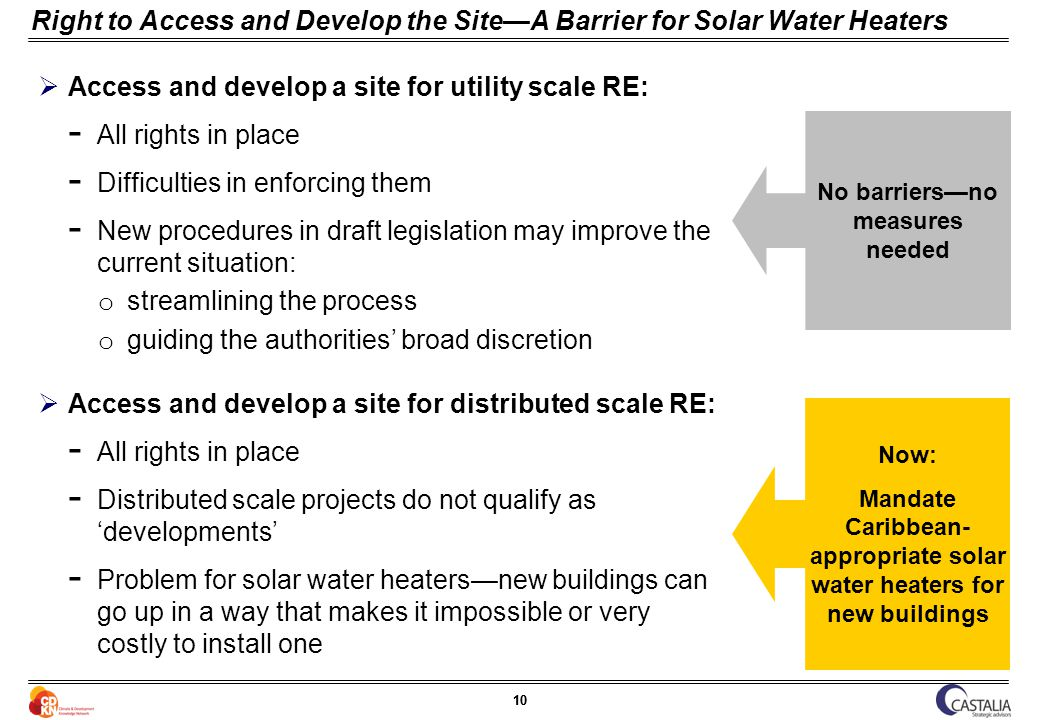10 Right to Access and Develop the SiteA Barrier for Solar Water Heaters Access and develop a site for utility scale RE: ­ All rights in place ­ Difficulties in enforcing them ­ New procedures in draft legislation may improve the current situation: o streamlining the process o guiding the authorities broad discretion Access and develop a site for distributed scale RE: ­ All rights in place ­ Distributed scale projects do not qualify as developments ­ Problem for solar water heatersnew buildings can go up in a way that makes it impossible or very costly to install one Now: Mandate Caribbean- appropriate solar water heaters for new buildings No barriersno measures needed