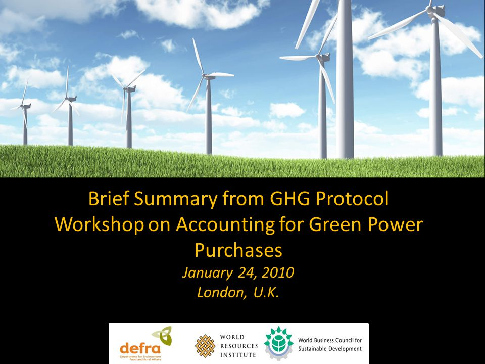 Brief Summary from GHG Protocol Workshop on Accounting for Green Power Purchases January 24, 2010 London, U.K.