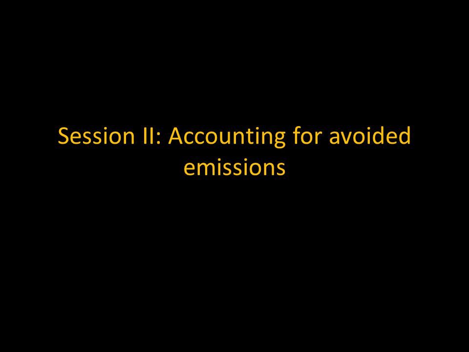 Session II: Accounting for avoided emissions