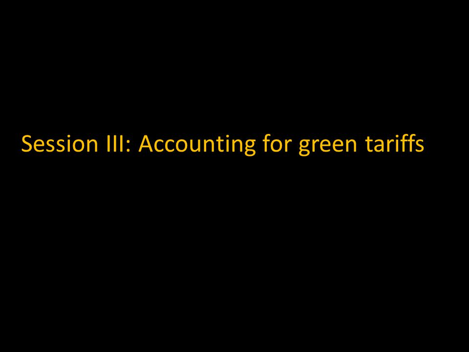 Session III: Accounting for green tariffs