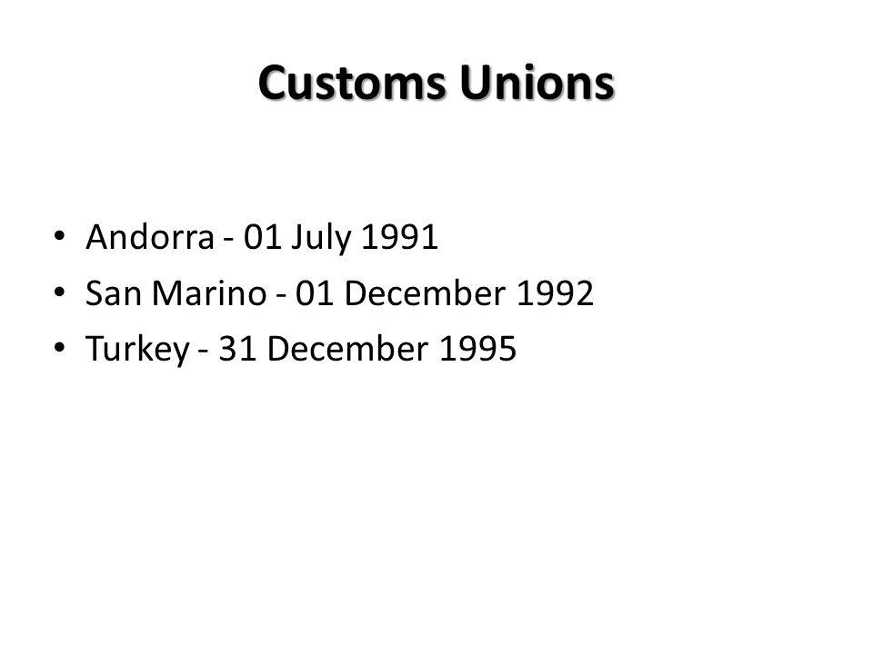 Customs Unions Andorra - 01 July 1991 San Marino - 01 December 1992 Turkey - 31 December 1995