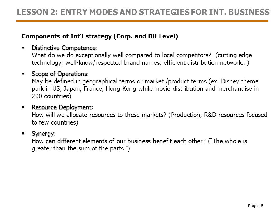 Page 15 LESSON 2: ENTRY MODES AND STRATEGIES FOR INT.