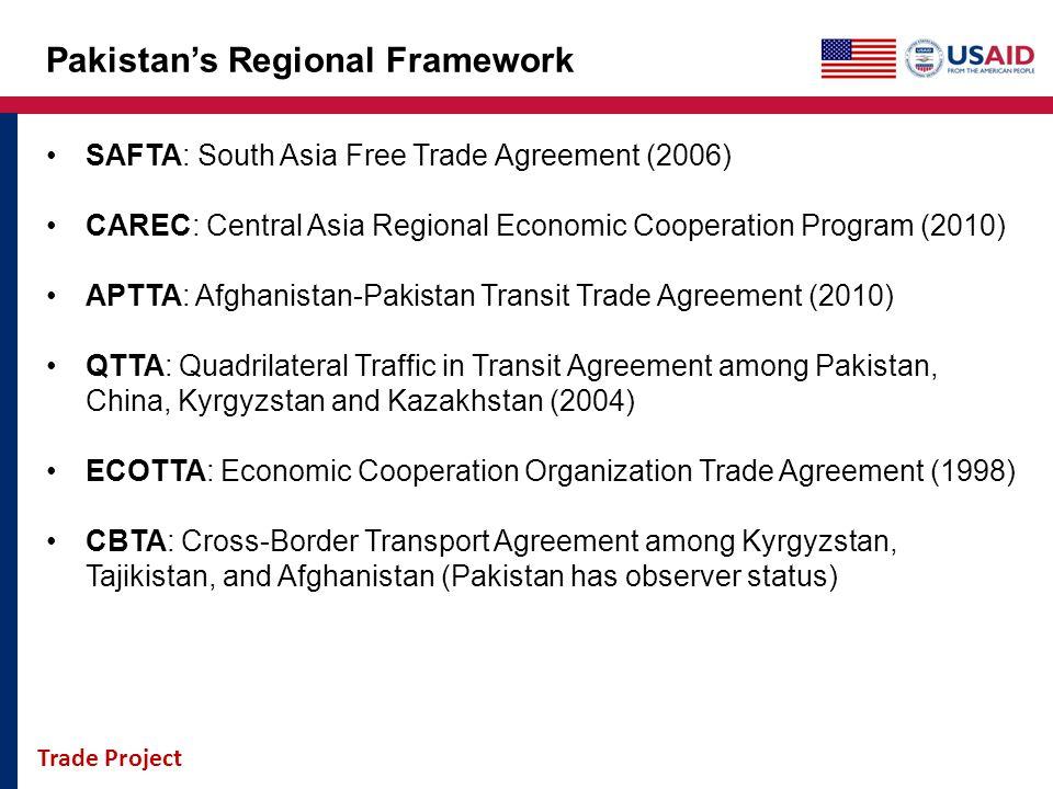 Trade Project Pakistans Regional Framework SAFTA: South Asia Free Trade Agreement (2006) CAREC: Central Asia Regional Economic Cooperation Program (20