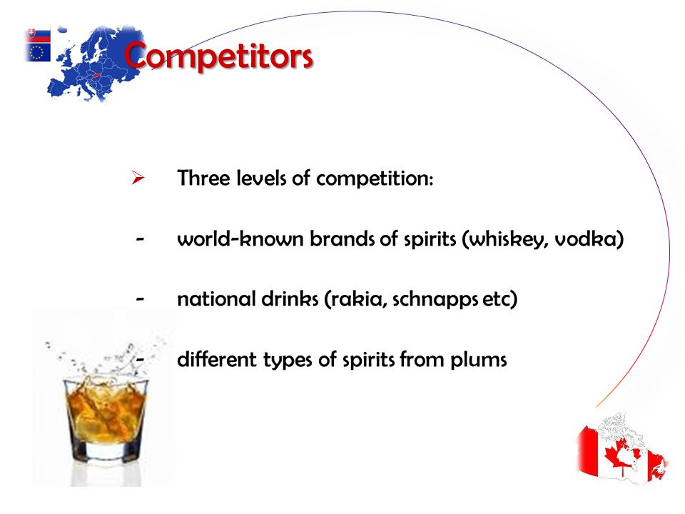 Competitors Three levels of competition: - world-known brands of spirits (whiskey, vodka) - national drinks (rakia, schnapps etc) - different types of