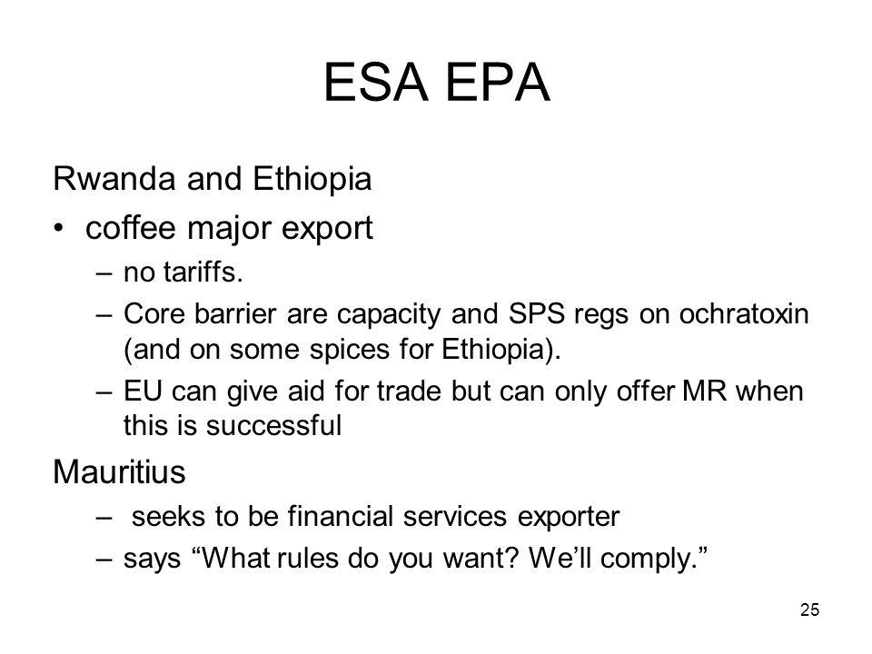25 ESA EPA Rwanda and Ethiopia coffee major export –no tariffs.