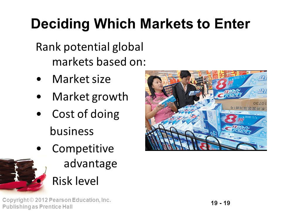 19 - 19 Copyright © 2012 Pearson Education, Inc. Publishing as Prentice Hall Deciding Which Markets to Enter Rank potential global markets based on: M