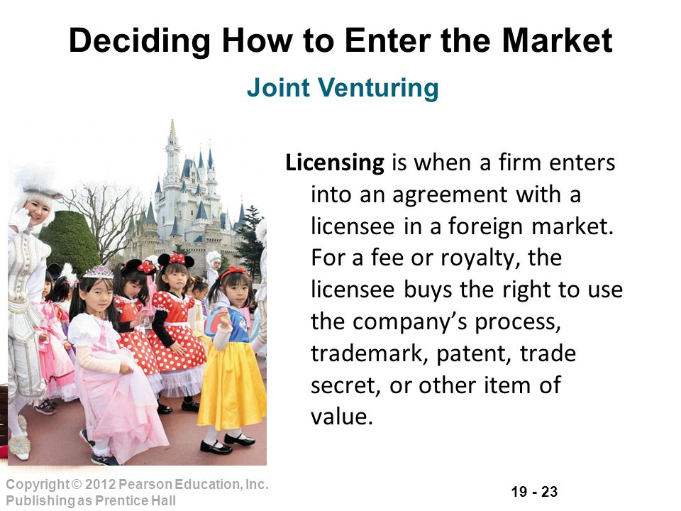 19 - 23 Copyright © 2012 Pearson Education, Inc. Publishing as Prentice Hall Deciding How to Enter the Market Licensing is when a firm enters into an