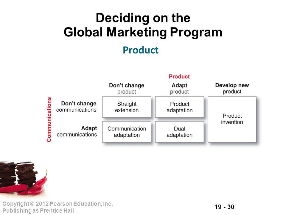19 - 30 Copyright © 2012 Pearson Education, Inc. Publishing as Prentice Hall Deciding on the Global Marketing Program Product