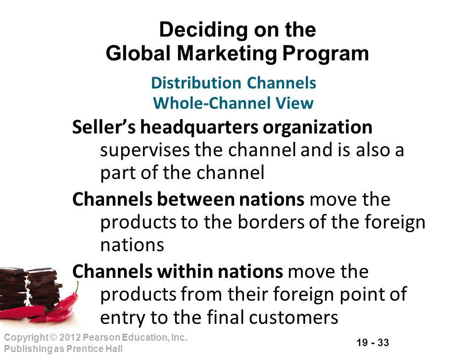 19 - 33 Copyright © 2012 Pearson Education, Inc. Publishing as Prentice Hall Deciding on the Global Marketing Program Sellers headquarters organizatio