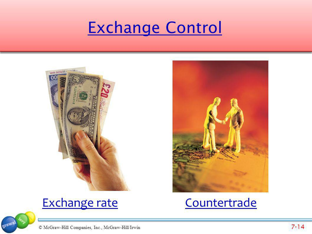 7-14 © McGraw-Hill Companies, Inc., McGraw-Hill/Irwin Exchange Control Exchange rateCountertrade