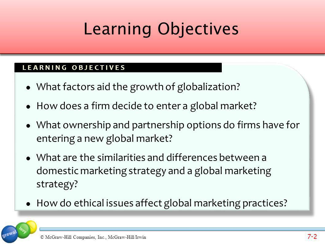7-23 © McGraw-Hill Companies, Inc., McGraw-Hill/Irwin Choosing a Global Marketing Strategy: Target Market (STP) Cultural nuancesSubculturesView of product and consumer roleDifferent positioningAdaptationSingle positioning strategy