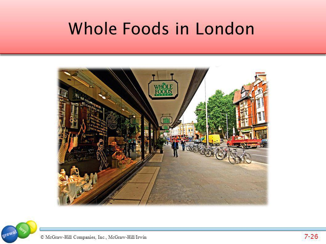 7-26 © McGraw-Hill Companies, Inc., McGraw-Hill/Irwin Whole Foods in London