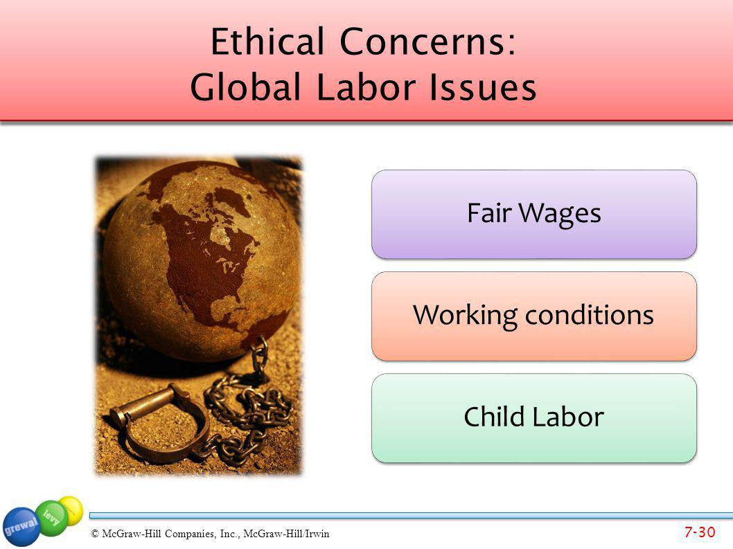 7-30 © McGraw-Hill Companies, Inc., McGraw-Hill/Irwin Ethical Concerns: Global Labor Issues Fair WagesWorking conditionsChild Labor