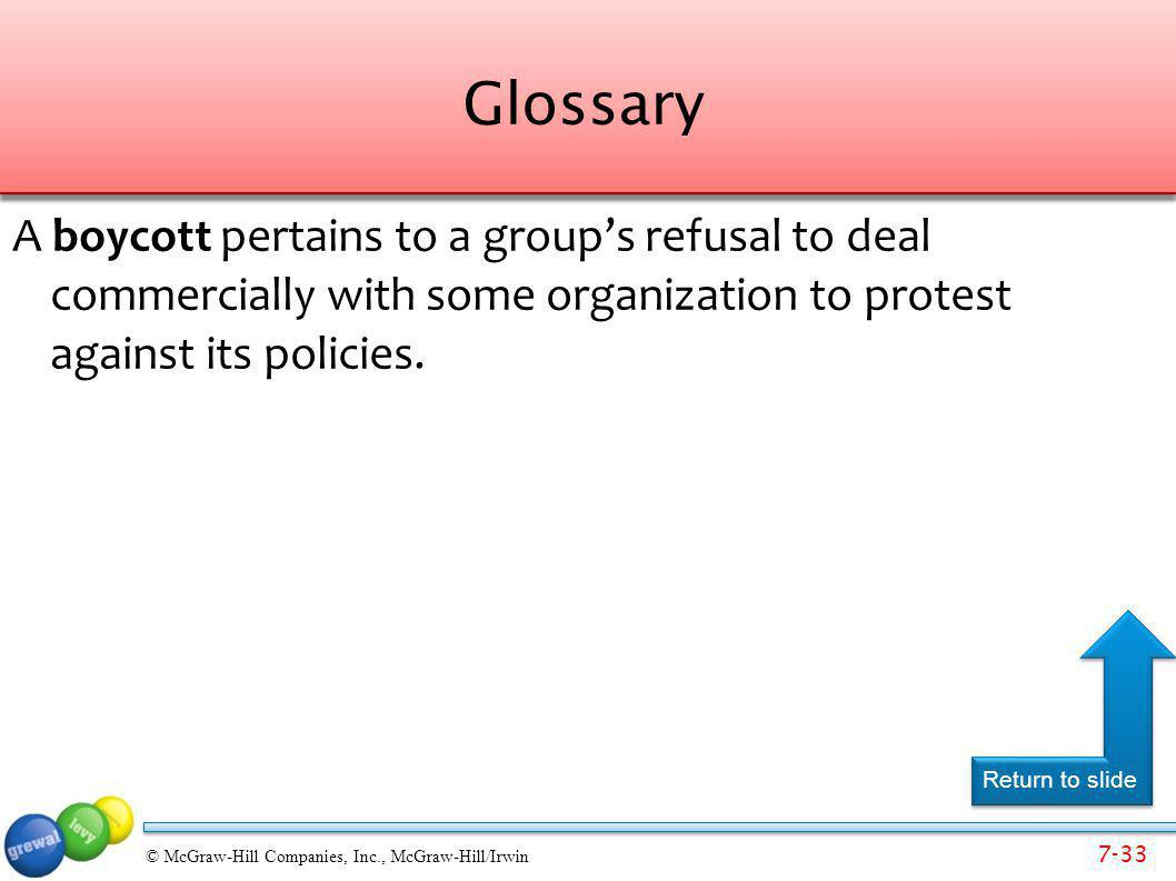7-33 © McGraw-Hill Companies, Inc., McGraw-Hill/Irwin Glossary A boycott pertains to a groups refusal to deal commercially with some organization to p
