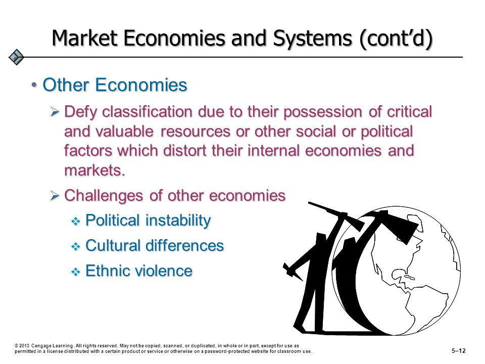 Market Economies and Systems (contd) Other EconomiesOther Economies Defy classification due to their possession of critical and valuable resources or