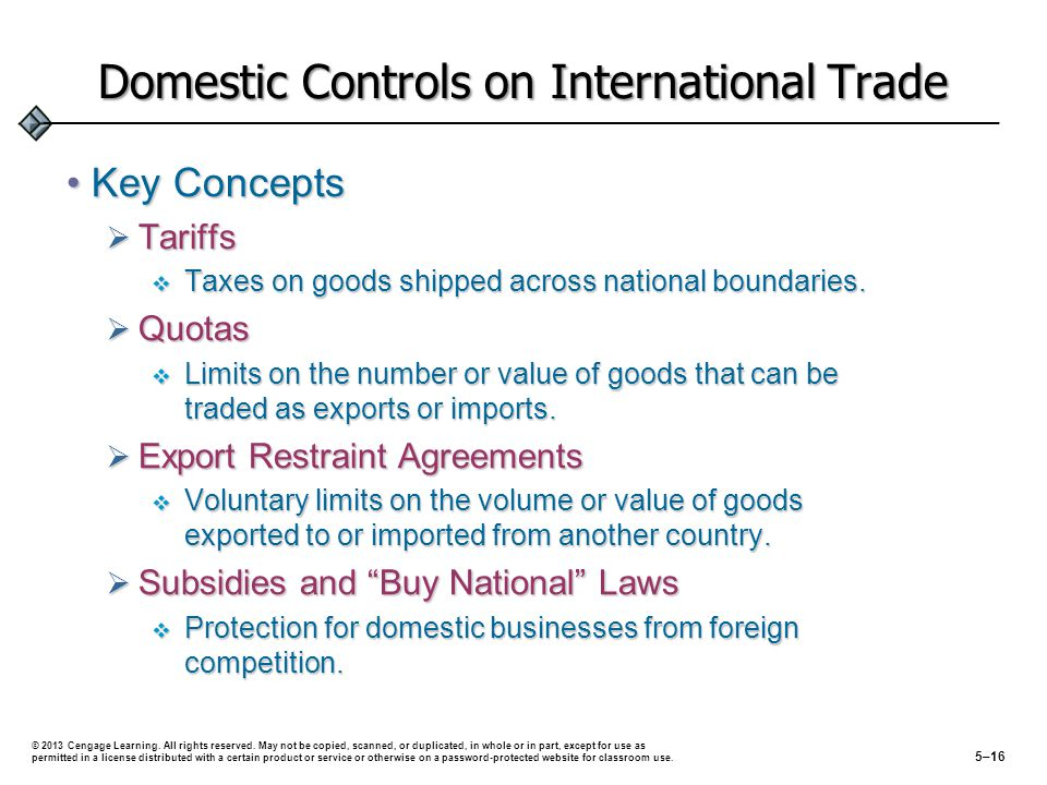 Domestic Controls on International Trade Key ConceptsKey Concepts Tariffs Tariffs Taxes on goods shipped across national boundaries. Taxes on goods sh