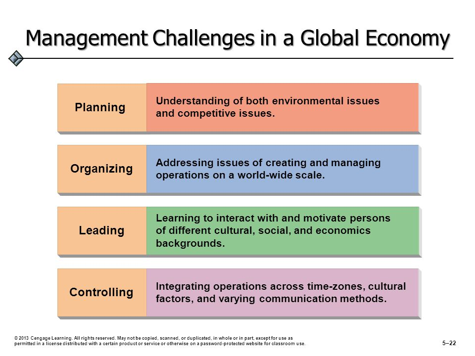 Management Challenges in a Global Economy Planning Leading Organizing Understanding of both environmental issues and competitive issues. Addressing is