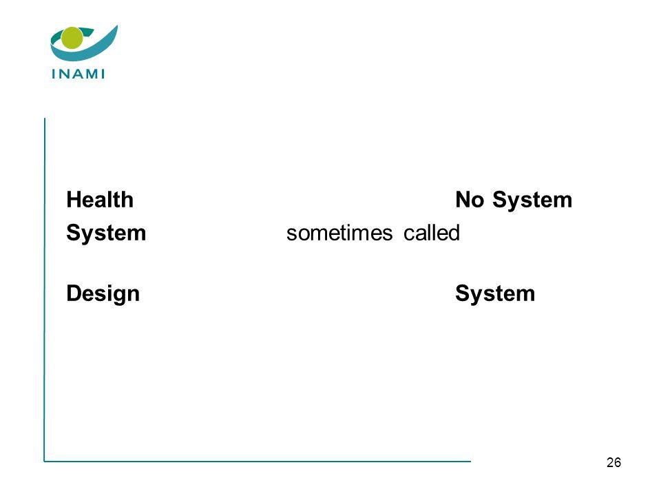 26 HealthNo System Systemsometimes called DesignSystem