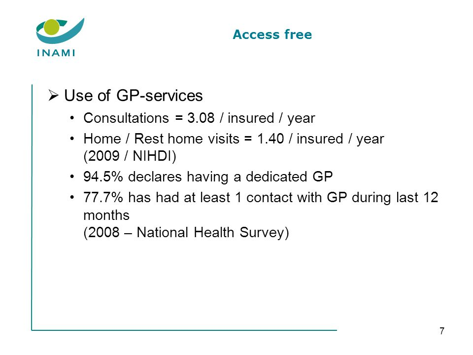 Access free Use of GP-services Consultations = 3.08 / insured / year Home / Rest home visits = 1.40 / insured / year (2009 / NIHDI) 94.5% declares having a dedicated GP 77.7% has had at least 1 contact with GP during last 12 months (2008 – National Health Survey) 7