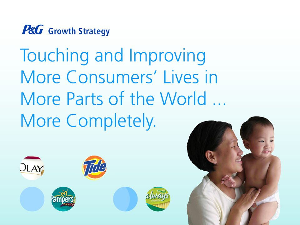 P&G s growth strategy and the Nigerian Government s transformation agenda share a common purpose Capital investment in Nigeria We are creating jobs Developing human capital Social responsibility programs moving us closer to the MDGs Business hub for West Africa- driving economic growth